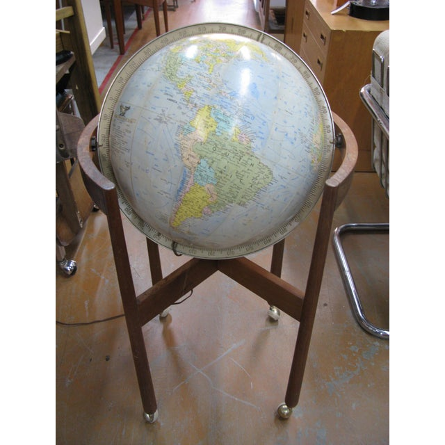 Jens Risom Sculptural Walnut Globe on Casters For Sale In Charleston - Image 6 of 11