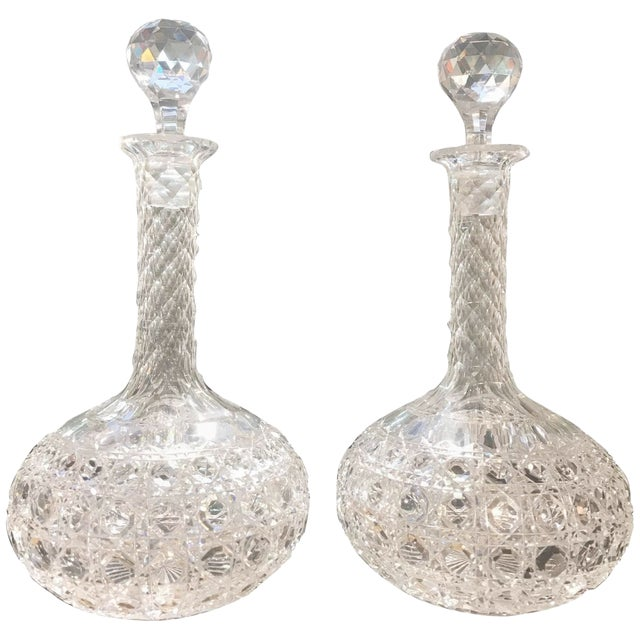 Late 19th Century Antique Hand-Cut Glass Wine Claret Decanters - A Pair For Sale