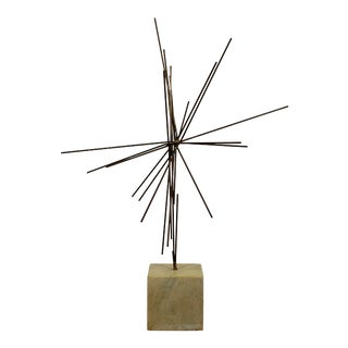 Mid-Century Modern Abstract Brass Sculpture on Stone C. 1976, Signed For Sale