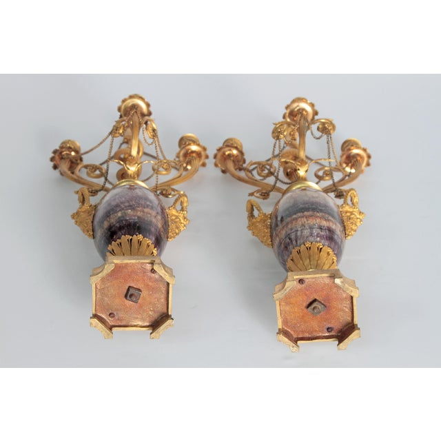 Gold Neoclassical / Louis XVI-Style Gilt Bronze Mounted Blue John Candlelabra For Sale - Image 8 of 12