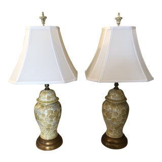 Vintage Berger Ginger Jar Lamps- A Pair For Sale