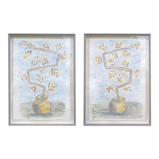 """Orange Trees on Sky Blue Background"" Contemporary Botanical Watercolor Paintings by Tom Wise, Framed - a Pair For Sale"