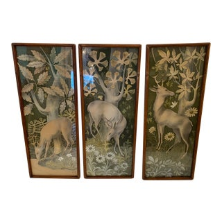 Vintage Gouache Triptych of Deer in the Forest For Sale