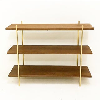 Walnut & Gold Low Book Shelf Preview