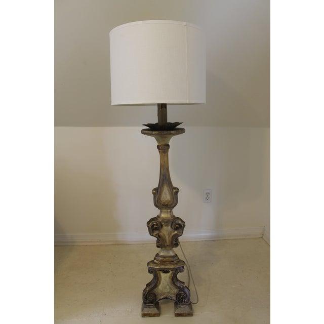 Baroque Italian Style Gilt Wood Floor Lamp For Sale - Image 12 of 12