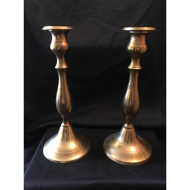 Metal Vintage Brass Candle Sticks - a Pair For Sale - Image 7 of 7