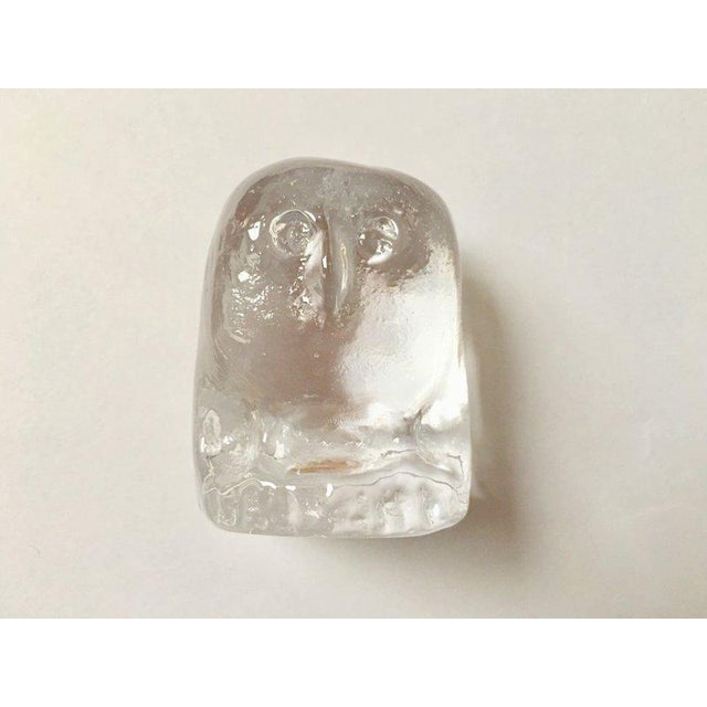 Erik Höglund for Boda Scandinavian Modern Art Glass Owl For Sale - Image 10 of 10