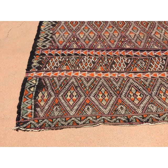 Black Vintage Moroccan Nomadic African Tribal Rug For Sale - Image 8 of 9