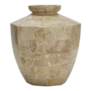 1990s Contemporary Marquis Collection Tessellated Cantor Stone Short Octagonal Vase For Sale
