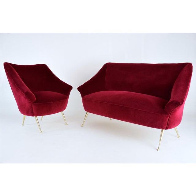 Italian Midcentury Velvet Sofa in the Manner of Ico Parisi, 1950s For Sale - Image 4 of 13