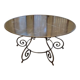 1990s Vintage Iron and Metal Round Dining Table For Sale