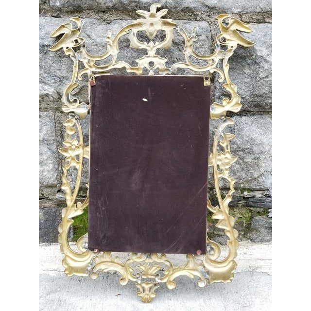 Vintage Brass Chippendale Style Ho Ho Bird Mirror For Sale - Image 11 of 13