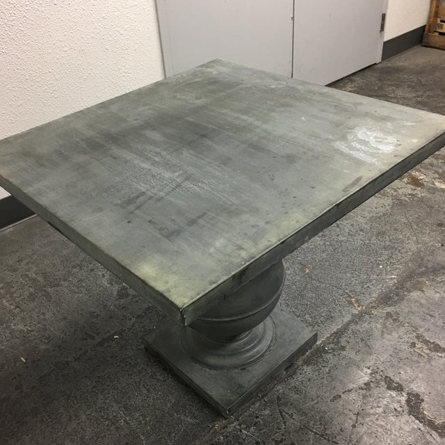 Zinc Square Top Ball Base Pedestal Table For Sale - Image 10 of 11