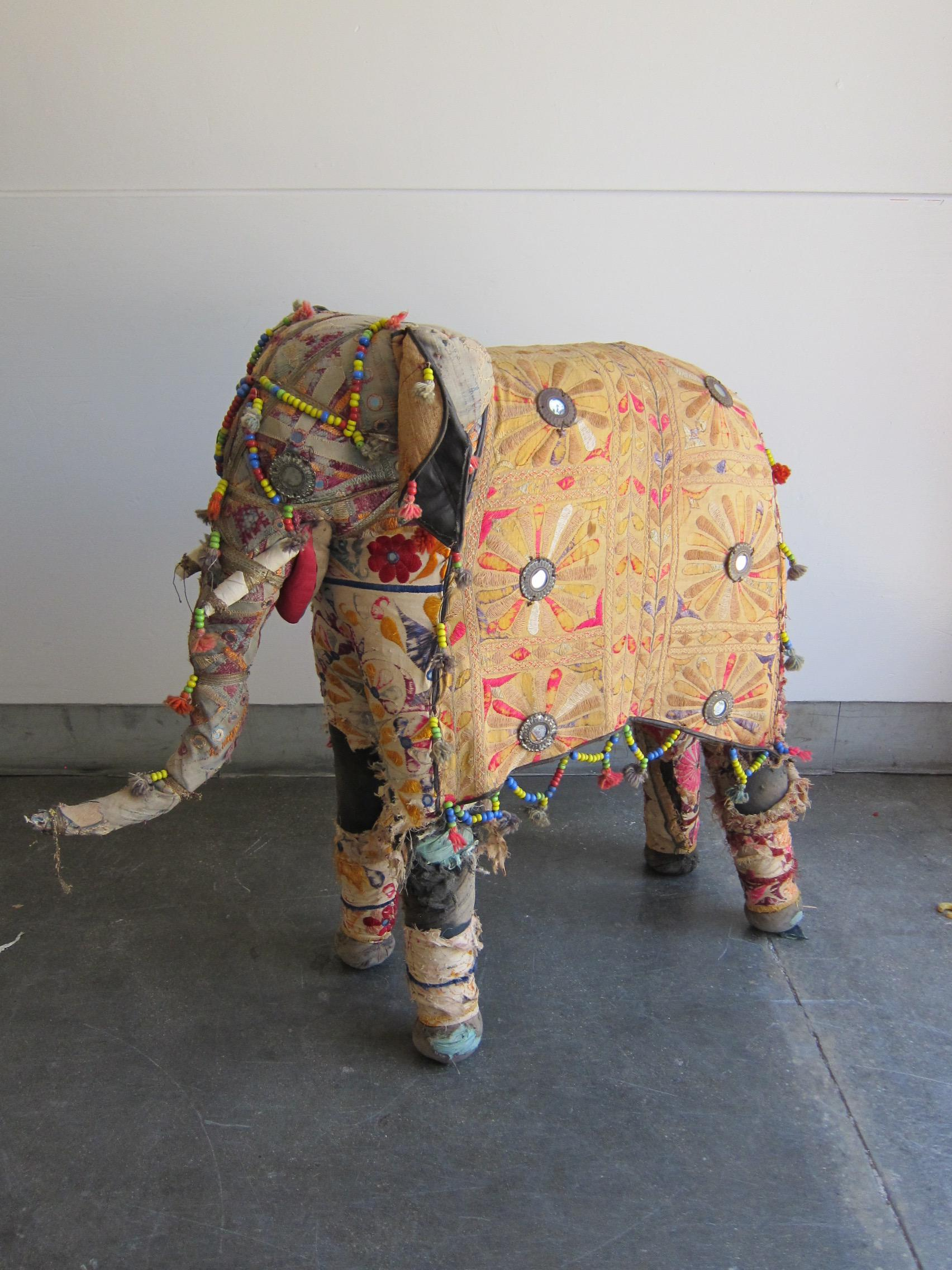 Vintage Rajasthan Embroidered Stuffed Indian Elephant Chairish