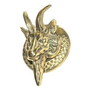 Horned Goat Brass Door Knocker For Sale