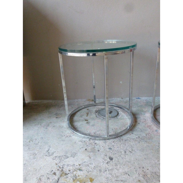 1970s Vintage Milo Baughman Chrome Tables - A Pair For Sale In Miami - Image 6 of 11