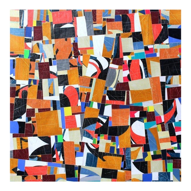 """pdp 787"" Original Collage on Canvas by Cecil Touchon For Sale"