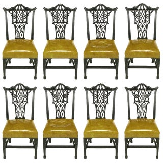Eight Chinese Chippendale Ebonized Mahogany Dining Chairs With Leather Seats For Sale