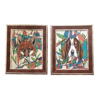 Original Stephen Heigh Pair Paintings Fox & Hound For Sale