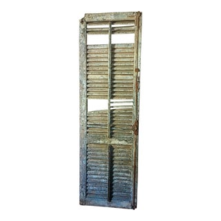 Antique Monumental Historic Savannah Chippy Blue Shutter For Sale