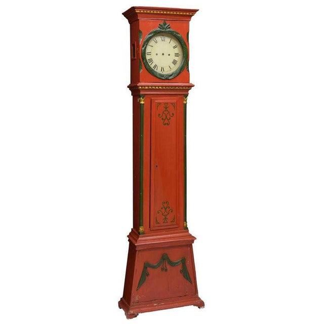 Empire Danish Empire Bornholm Painted Grandfather Clock For Sale - Image 3 of 8