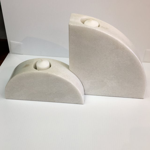 Theodore Alexander Half Round Marble Candleholder For Sale - Image 4 of 5