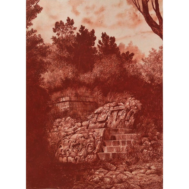 "Late 20th Century Illustration of Mayan Ruins, ""Habitat Maya No.4"" For Sale - Image 5 of 5"