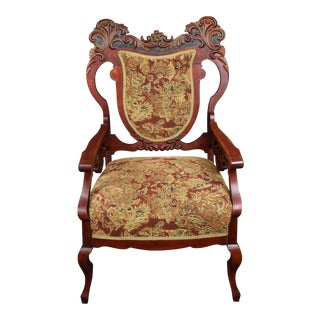 Antique Old World Carved Shield Back Armchair For Sale