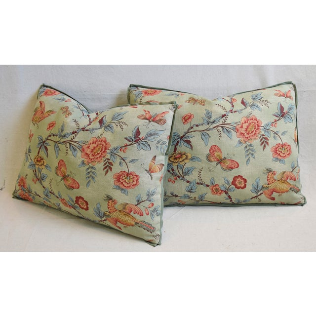 "Designer Jasper Wallace Floral Vine Feather/Down Pillows 23"" X 16"" - Pair For Sale - Image 9 of 13"