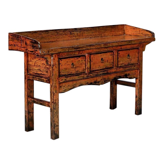 Chinese Painted and Lacquered Three-Drawer Console Table For Sale