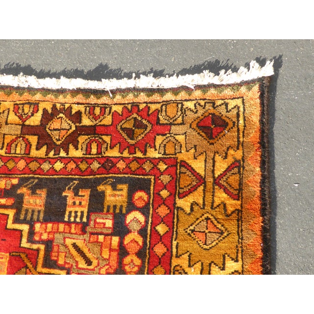 "Vintage Turkish Geometric Pattern Red & Orange Rug - 9'8"" X 6' - Image 8 of 11"