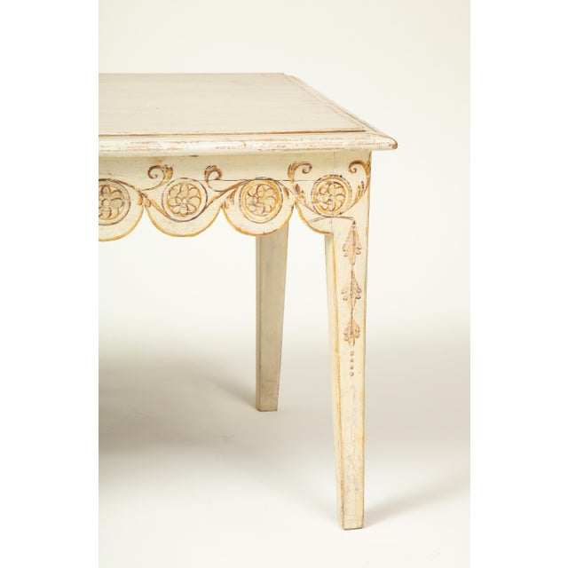 Wood Colefax & Fowler Long Ivory-Painted Hall Bench For Sale - Image 7 of 10