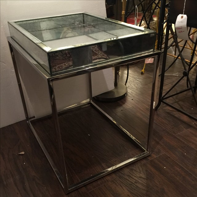 Antique Mirror & Chrome Occasional Table - Image 6 of 6