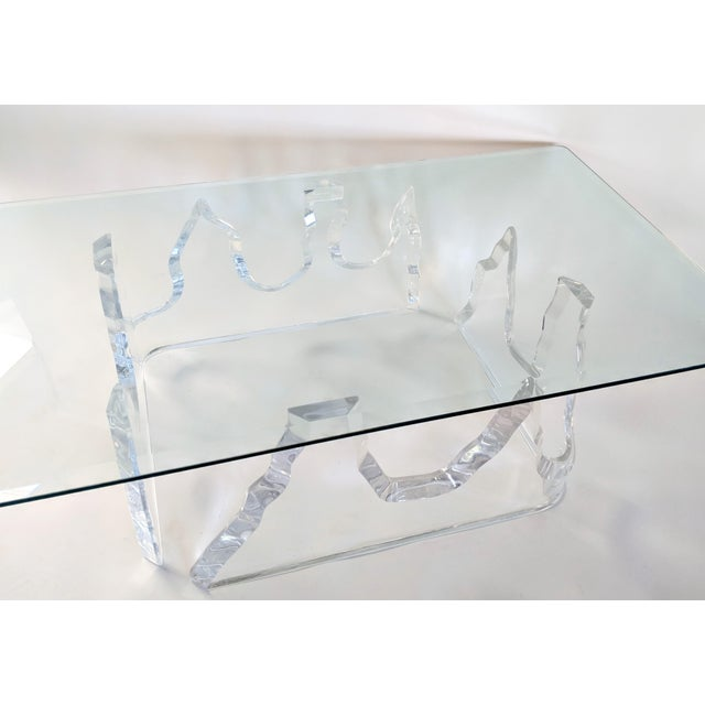 Lion in Frost Style Lucite Iceberg Coffee 2-Piece Table Base For Sale - Image 11 of 13