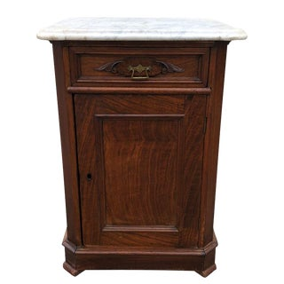 19th Century Victorian Walnut Marble Top Side Chest Cabinet For Sale