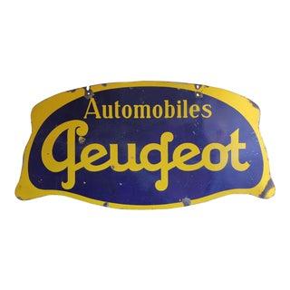 Vintage Peugeot Porcelain Sign For Sale
