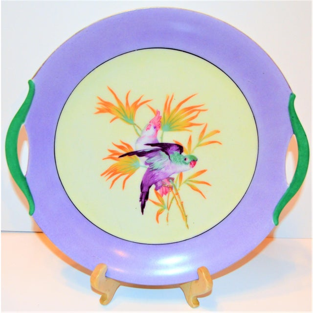 Antique Lilac Moschendorf Bavaria Cake Plate With Parrots For Sale - Image 4 of 10