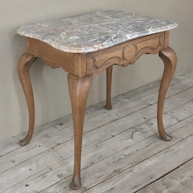 Louis XV 19th Century French Louis Philippe Walnut Marble Top Writing Table For Sale - Image 3 of 12