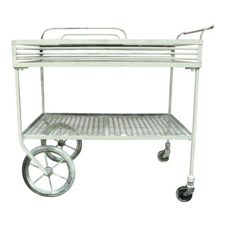 1940s Vintage Wrought Iron Patio Bar Cart For Sale