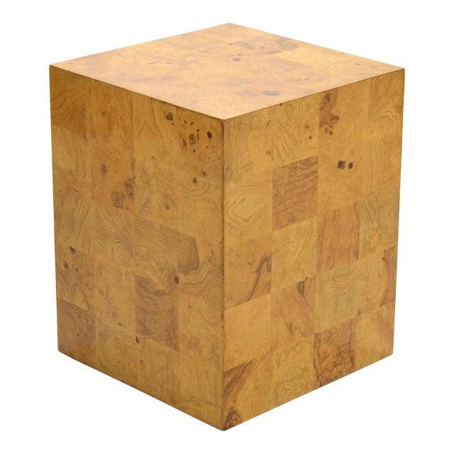 Milo Baughman Burl Patchwork Pedestal/ End Table by Thayer Coggin For Sale