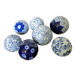 Chinoiserie Blue & White Spheres, 7 Piece For Sale