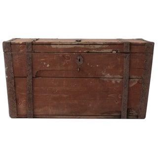 Antique Flat Top Wood Trunk