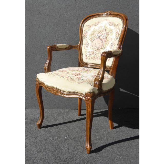 Vintage French Provincial Accent Arm Chairs - Pair - Image 3 of 11