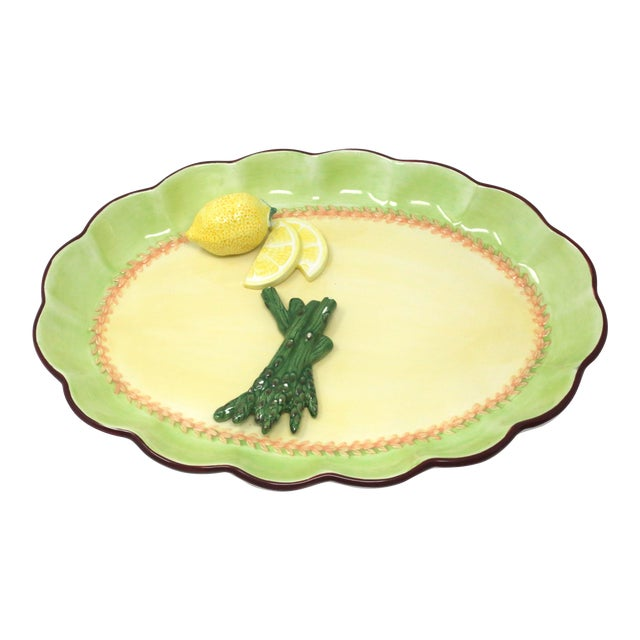 Vintage Hand-Painted Trompe l'Oeil Lemon and Asparagus Decorative Plate For Sale