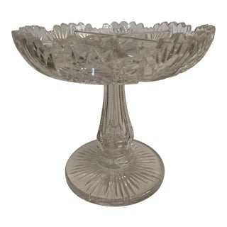 Antique Libbey American Brilliant Period Cut Glass Footed Bowl For Sale