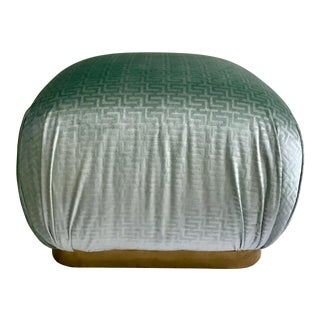 1980s Hollywood Regency Aquamarine Pouf For Sale