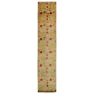 Spanish Bilbao Design Beige and Multicolor Floral Wool-Silk Runner Rug - 2′8″ × 19′8″ For Sale