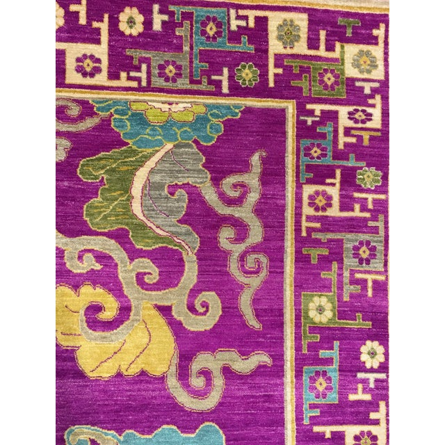 "Chinese Exotic Fuschia Chinese Design Rug, 8' X 10'3"" For Sale - Image 3 of 12"