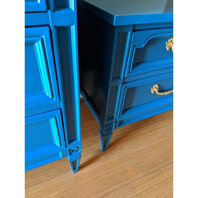 1960s Italian Basic Witz Blue High Gloss Six-Drawer Dresser and Nightstand Set - 2 Pieces For Sale - Image 4 of 12