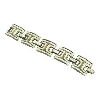 French St Luc Mid Century Modern Bronze and White Enamel Link Bracelet For Sale